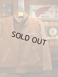 GO WEST ゴーウエスト -セール!!  TEAM JACKET/WOOL MELTON(GOAT SUEDE LEATHER) BROWN