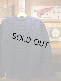 Kerry Woollen Mills ケリーウーレンミルズ - Aran Cable Crew Neck LITE Navy Blue 【MADE IN THE U,K】
