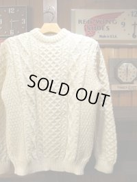 Kerry Woollen Mills ケリーウーレンミルズ - Aran Cable Crew Neck LITE Pure Aran 【MADE IN THE U,K】