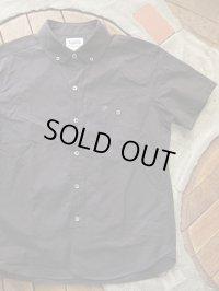 PHERROW'S フェローズ - プレーン ラウンドカラー 半袖 ボタンダウンシャツ ブラック 【MADE IN JAPAN】
