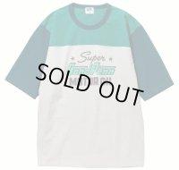 PHERROW'S フェローズ - ヘビーオンス天竺フットボール半袖Tシャツ:Light gray x Blue