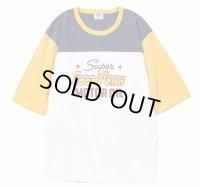 PHERROW'S フェローズ - ヘビーオンス天竺フットボール半袖Tシャツ:White x Yellow