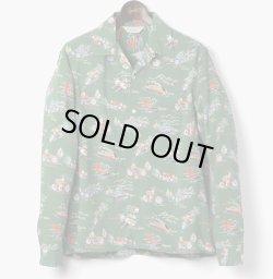 画像1: ORGUEIL オルゲイユ - Long Sleeve Aloha Shirt:Green